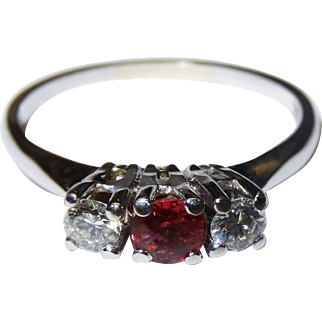 Elegant Diamond Ruby 18K White Gold Trio Ring Vintage Three Stone Fine