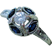 20K Gold Diamond Sapphire Ring Art Deco Fine