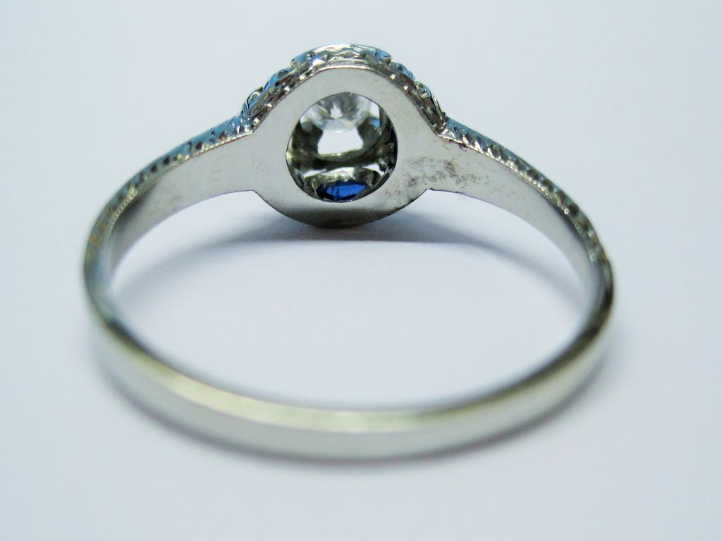 20K Gold Diamond Sapphire Ring Art Deco Fine from bliss on Ruby Lane