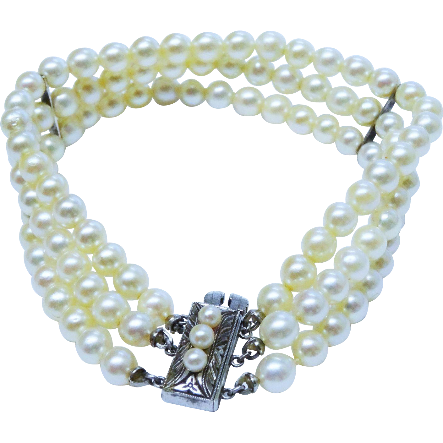 Gorgeous Cultured Pearl 3 Strand Bracelet Sterling Silver Chased Clasp Fine Vintage