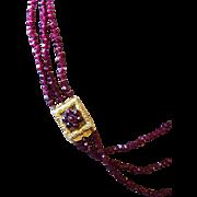 Antique 3 Strand Garnet Bead Necklace Fine Ornate Clasp