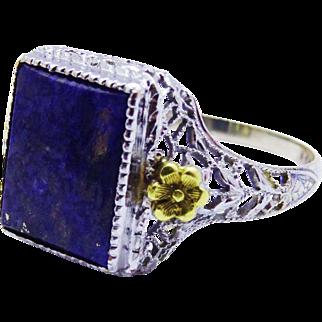 Dainty Lapis Lazuli 8K WG YG Filigree Floral Ring Vintage