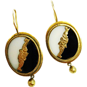 Handsome Antique Chalcedony Black Onyx 9K Yellow Gold Earrings Fine Victorian