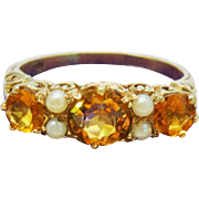 Edwardian Citrine Pearl 9K Yellow Gold Cluster Ring Fine