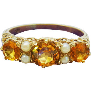 Divine Edwardian Citrine Pearl 9K Yellow Gold Cluster Ring Fine