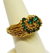 Extraordinary Modernist Green Spinel 9K Yellow Gold Ring Fine Vintage