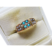 Victorian Turquoise Seed Pearl Gold Ring Fine