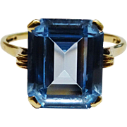 Lovely Blue Topaz 9K Yellow Gold Ring Fine Vintage Emerald-Cut