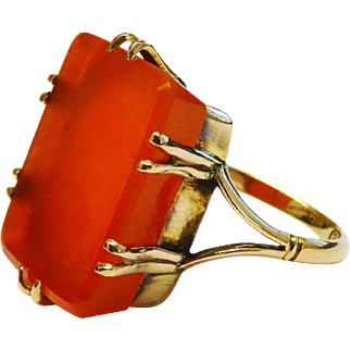 Massive Antique Carnelian 9K Yellow Gold Ring Fine