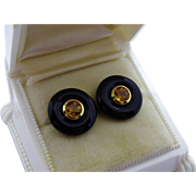 Classic Onyx Citrine 9K Yellow Gold Post Earrings Fine Estate