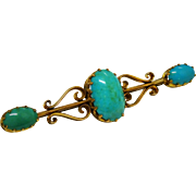 Victorian Turquoise 9K Yellow Gold Ornate Brooch Fine