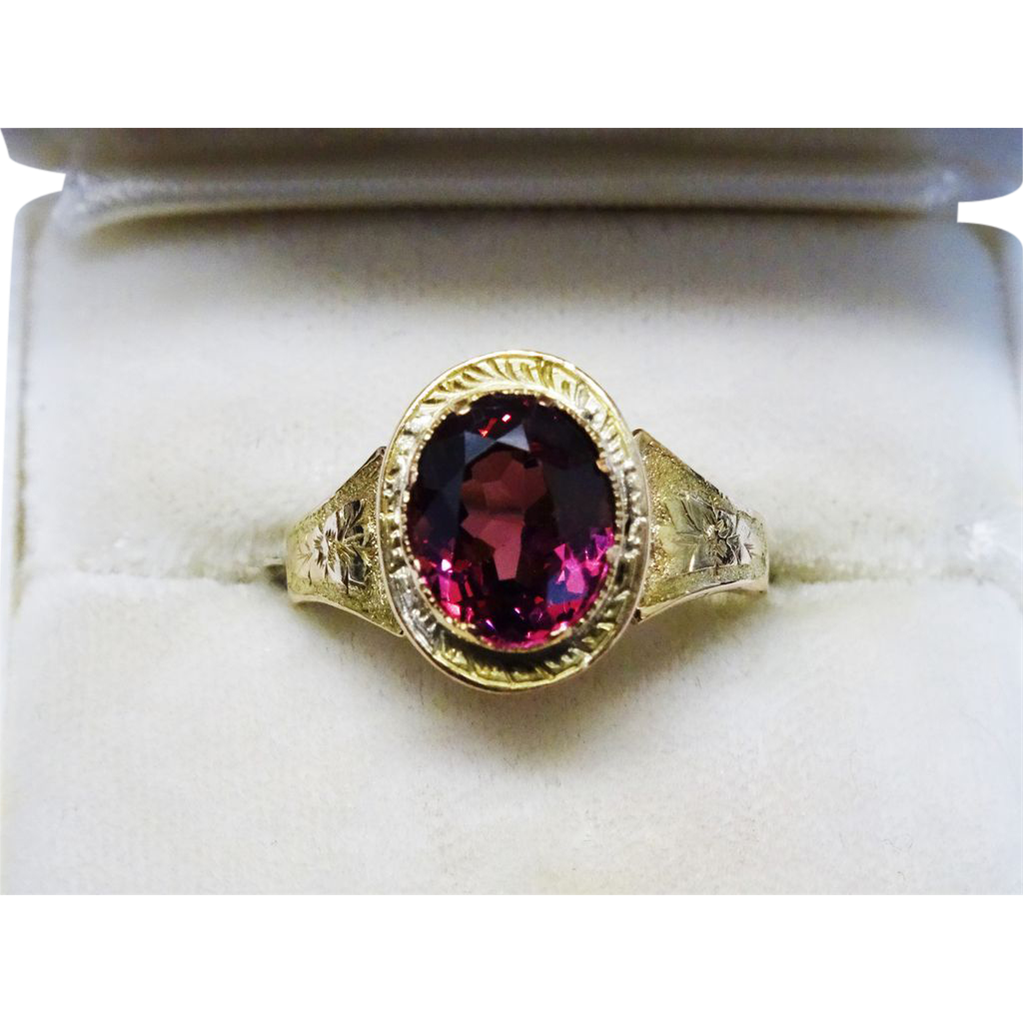antique rubellite tourmaline gold chased ring sold on