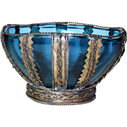 Sensational Veraco Blue Glass Bowl Ornate Metalwork Decoration France