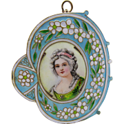 French Art Nouveau Hand Painted Enamel Pendant Foiled Fine Rare