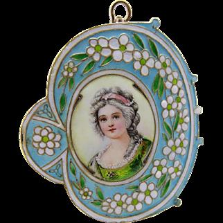 French Art Nouveau Hand Painted Enamel Pendant Foiled Fine Rare