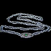 Art Nouveau French Emerald Paste Sterling Silver Necklace Fine
