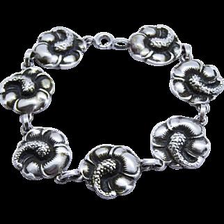 Vintage Sterling Silver Link Bracelet Hibiscus Viking Craft Co.