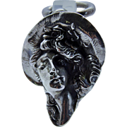Rare Art Nouveau Antique Sterling Silver Lady 3-D Pendant Repousse