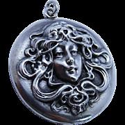 Lovely Art Nouveau Sterling Silver Repousse Lady Locket Fine