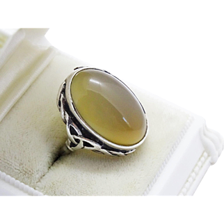 Awesome Quartz Cabochon Sterling Silver Ring Trinity Knot Vintage Scottish Agate