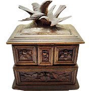 Antique Black Forest Jewelry Box Carved Bird Floral Decoration 3 Pink Silk Compartments