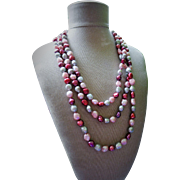 """Fabulous Long Baroque Cultured Freshwater Pearl Necklace Pink Plum Silver 64"""""""