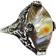 Arts & Crafts Blister Pearl Sterling Filigree Floral Ring Fine