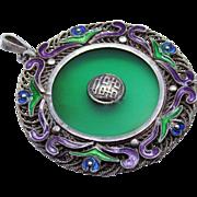 Stunning Chinese Sterling Silver Filigree Enamel Chrysoprase Pendant Vintage
