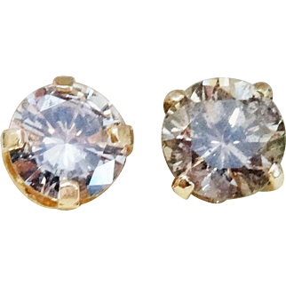 Sparkly .66 Carat Champagne Diamond 14K Yellow Gold Stud Earrings Fine