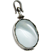 Handsome Glass Sterling Silver Locket Fine Vintage