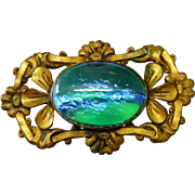 Art Nouveau Blue Green Dragon's Breath Cab Brooch