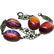 Fabulous Dragon's Breath Sterling Silver Bracelet Art Glass Cabochons Floral Links
