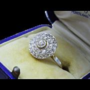 Exquisite Edwardian Diamond Cluster Ring 18K Gold Platinum Top Deco Era Fine