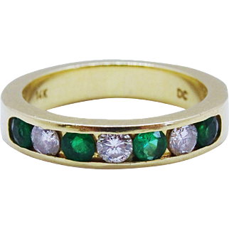 Handsome Diamond Emerald 14K Yellow Gold Half Eternity Band Fine