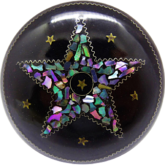 Antique Papier Mache Mother of Pearl Inlay Star Box Round Edwardian