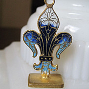 Terrific French Enamel Fleur de Lis Pendant Fob Vintage