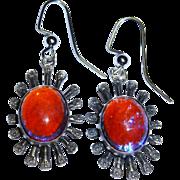 Dragon's Breath Art Glass Sterling Silver Dangle Earrings Vintage
