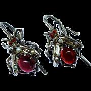 Victorian Garnet Seed Pearl Sterling Silver Drop Earrings Fly Insect Motif Figural