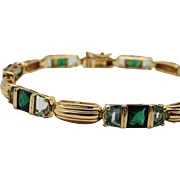 Tourmaline Vermeil Sterling Silver Link Bracelet Fine Unique Green Tourmaline