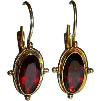 Pretty Garnet Vermeil Sterling Drop Earrings Vintage