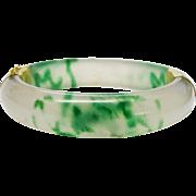 Vintage Jadeite Jade Bangle Bracelet 14K Gold Plate