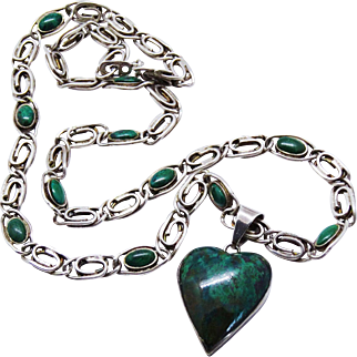 Awesome Mexico Azurite Sterling Silver Heart Pendant Chain Necklace Rare
