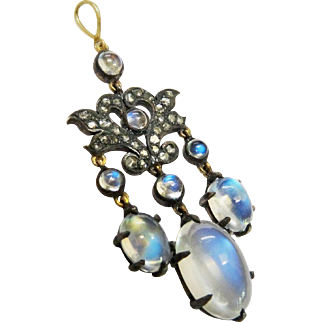 Fine Edwardian Diamond Moonstone Pendant 14K Gold Sterling
