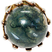 Awesome Large Moss Agate Cabochon Sterling Silver Ring Chunky