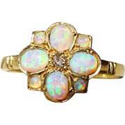 REDUCED!~Pretty Diamond Opal Gold Cluster Ring Vintage Fine