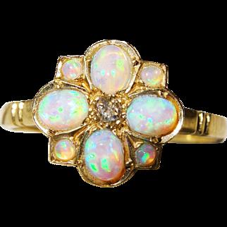 Pretty Diamond Opal Gold Cluster Ring Vintage Fine
