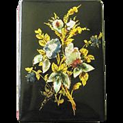Victorian Aide de Memoire Papier Mache Floral MOP Gilt