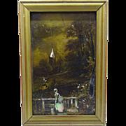 Unique Antique Papier Mache Mother of Pearl Hand Painted Framed Scene Quaint Rare