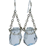 Gorgeous Rock Crystal Quartz Sterling Silver Pendant Drop Earrings Chunky Hand-cut Fine