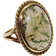 Fantastic Large Moss Agate 9K Yellow Gold Ring Fine Vintage